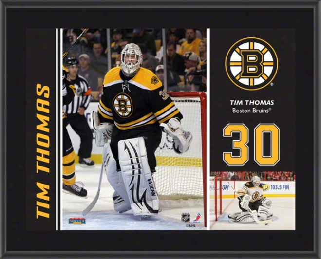 Tim Thomas Plaque  Details: Boston Bruins, Sublimated, 10x13, Nhl Plaque