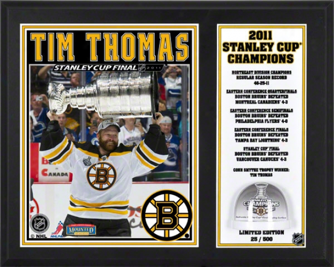 Tim Thomas Sublimated 12x15 Plaque  Details: Boston Bruins, 2011 Nhl Stanley Cup Champions, Game Used Ice