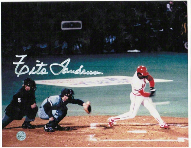 Tito Landrim St. Louis Cardinals Autographed 8x10 Photo At The Plate