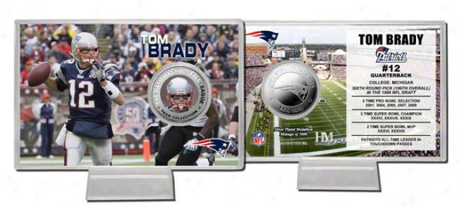 Tom Brady Coin Card: New England Patriots Siover Coin Card