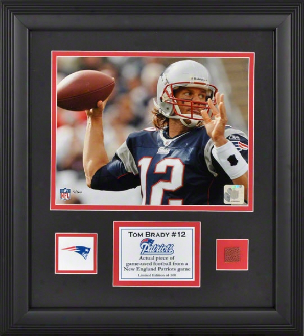 Tom Brady Framed 8x10 Photograph  Details: New England Patriots, With Game Used Football Piece And Descriptive Plate