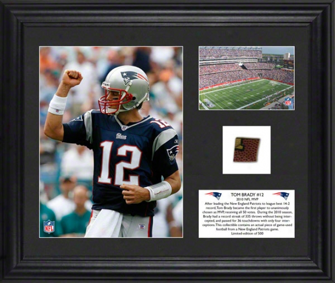 Tom Brady Framed Photographs  Details: New England Patriots, 2010 Mvp, Game Used Football
