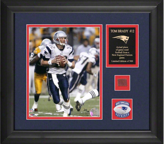 Tom Brady New England Patriots Framed 8x10 Photograph With Courageous Used 2005 Football Composition And Medallion