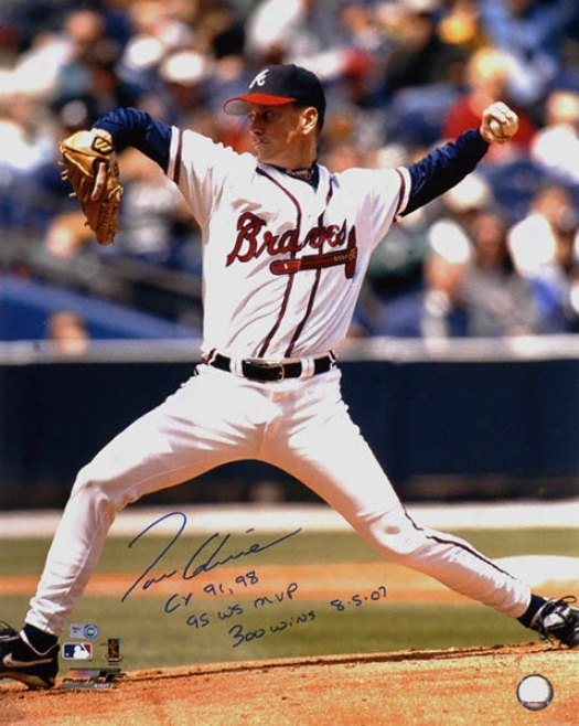 Tom Glavine Altanta Braves - Releasing Ball - Autographed 16x20 Photograph With Cy 91,98, 95 Ws Mvp And 300 Wins 8-5-07 Inscriptiions