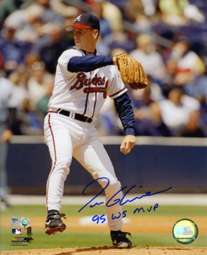 Tom Glavine Atlanta Bravse Autographed 8x10 Photograph With 1995 World Series Mvp Inscription