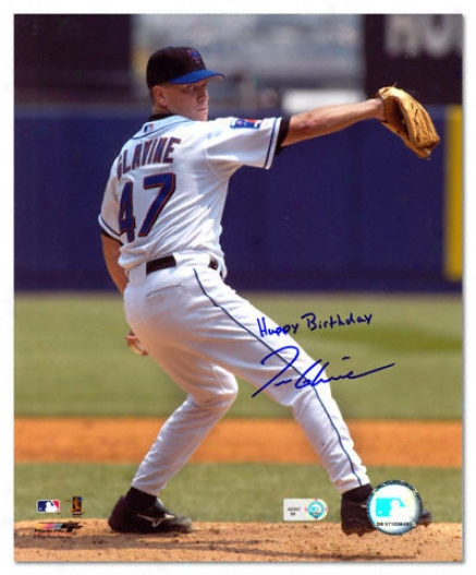 Tom Glavine New York Mets Autographed 8x10 Photograph With Happy Brithday Inscription