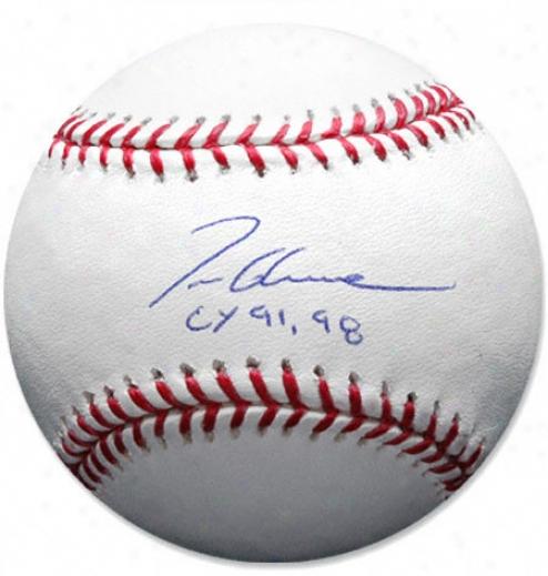 Tom Glavine Novel Yorm Mets Autographed Baseball W/ Inscription &quotcy 91/98&aut