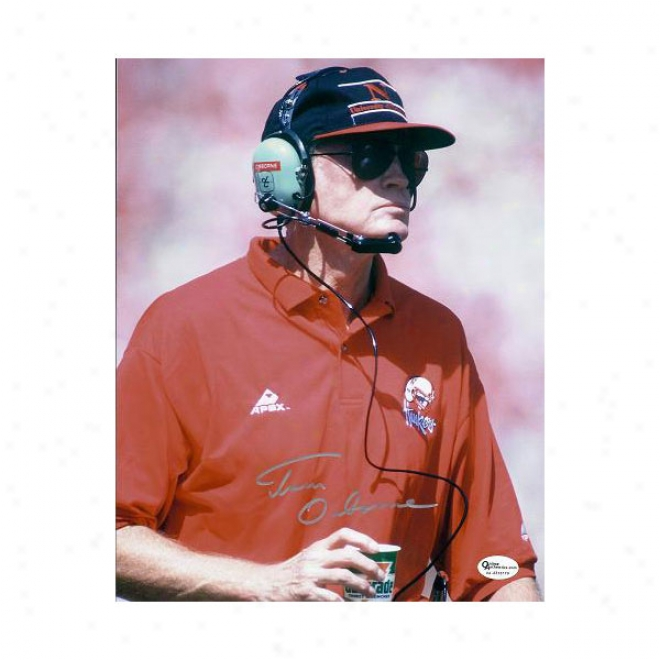 Tom Osborne Coach Autographed Nebraska Cornhuskers 8x10 Photo 3x Champion