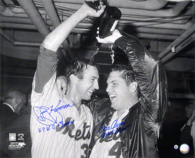 Tom Seaver & Jerry Koosman New York Mets Autographed 16x20 Cuampagne Photo W/ Inscription &quot69 Ws Champs&quot