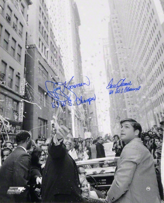Tom Seaver & Jerry Koosman New York Mets Autographed 16x20 Parade Photo W/ Inscriptioh &quot69 Wq Champs&quot