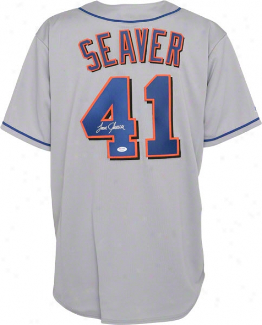 Tom Seaver New York Mets Autographed Grey Majestic Replic aJersey