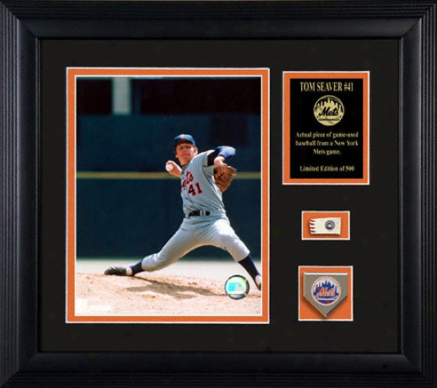 Tom Seaver New York Mets Framed 8x10 Photograph With Game Used Baseball Piece And Team Medallion