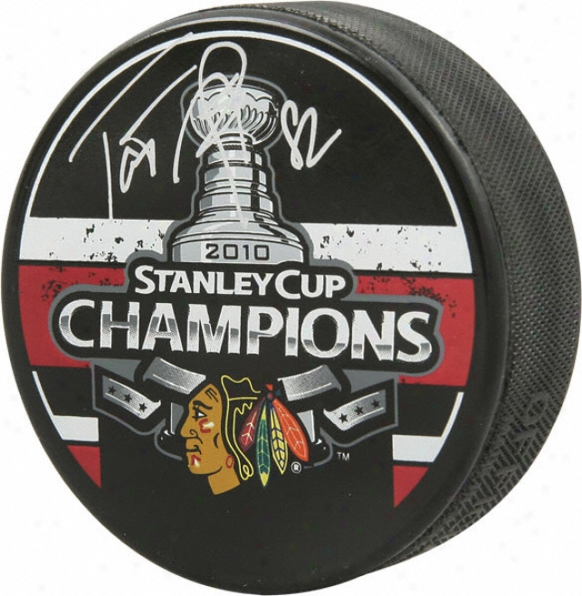 Tomas Kopecky Chicago Blackhawks Autographed 2010 Stahley Cup Champions Puck