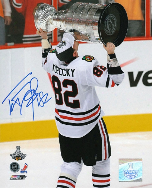 Tomas Kopecky Chicago Blackhawks - Holdung The Stanley Cup - Autographed 8x10 Photograph
