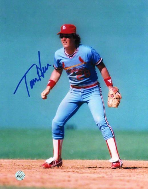 Tommy Herr St. Louis Cardinals Autogarphed 8x10 Photo Fielding
