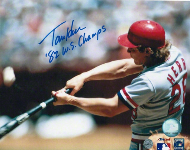 Tommy Herr St. Louis Cardinals Autographed 8x10 Photo Hitting Inscribed 82 Ws Champs