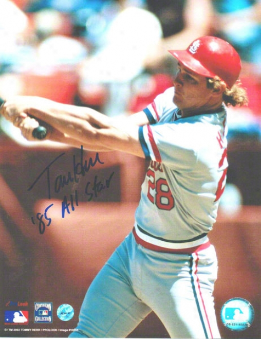 Tommy Herr St. Louis Cardinals Autographed 8x10 Photo Swinging Inscribed 85 All Star