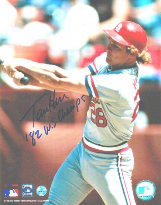 Tommy Herr St. Louis Cardinals Autographed 8x10 Photo Swinging Inscribed 82 Ws Chamls