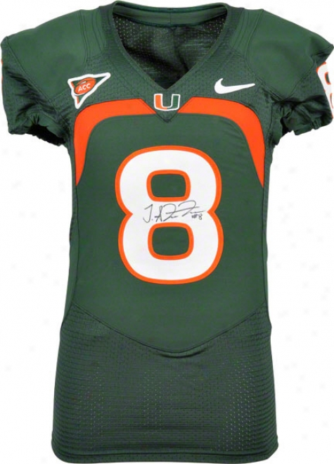 Tommy Streeter Autographed Jersey  Details: Miami Hurricanes, Game Used, Green Jersey