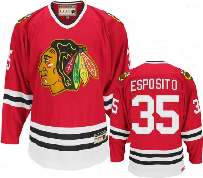 Tony Esposito Red Reebok Heroes Of Hockey Chicago Blackhawks Jersey