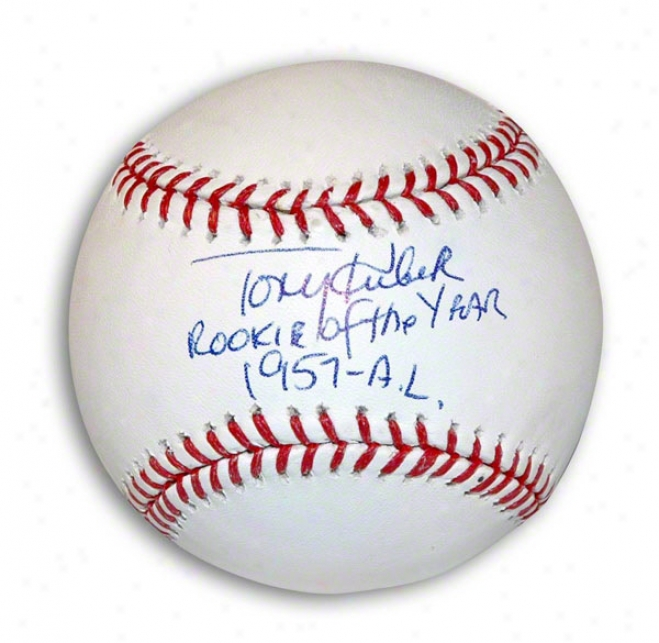 Tony Kubek Autographed Mlb Baseball Inscribed &quotrookie Of The Year 1957-al&quot