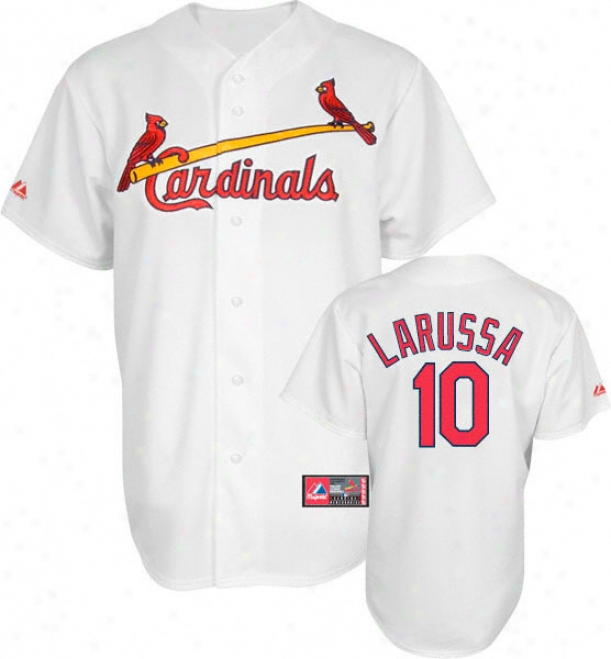 Tony La Russa Jersey: Adult Majestic Home White Replica #10 St. Louis Cardinals Jersey