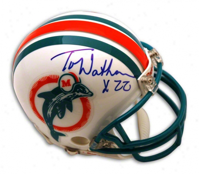 Tony Nathan Autographed Miami Dolphins Throwback Mini Helmet
