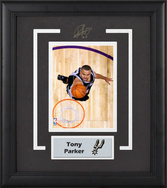 Tony Parker San Antonio Spurs Frmed 6x8 Photograph With Facsimile Signature And Plate