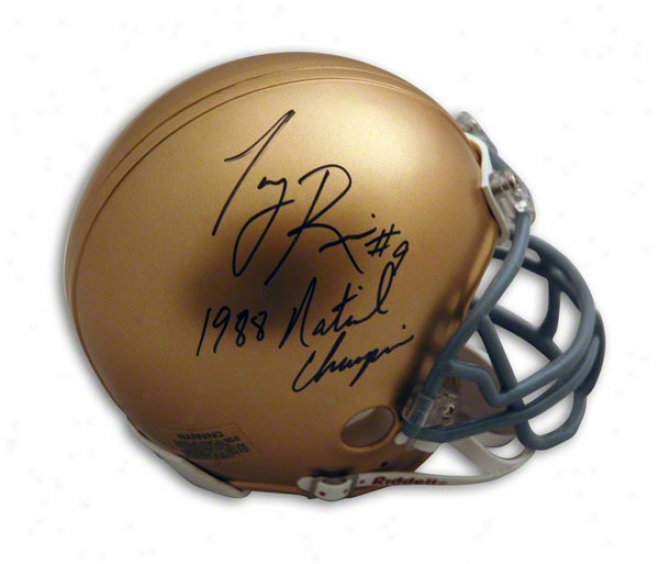 Tony Rice Notre Dame Fighting Irish Autographed Mini Helmet Inscribed 1988 National Champs And #9
