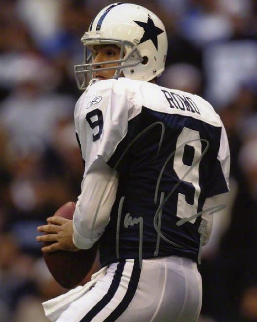 Tony Romo Autographed 8x10 Photograph  Details: Dallas Cowboys