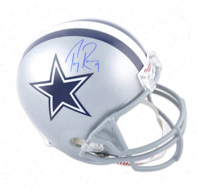 Tony Romo Autographed Helmet  Details: Dallas Cowboys, Riddell Replica Helmet