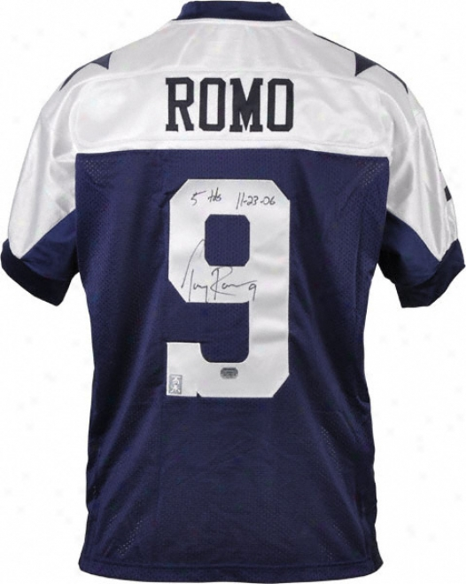 Dunce Romo Autographed Jersey  Details: Dallas Cowboys, Authentic, Reebok, 5 Touchdowns 11/23/06 Inscription