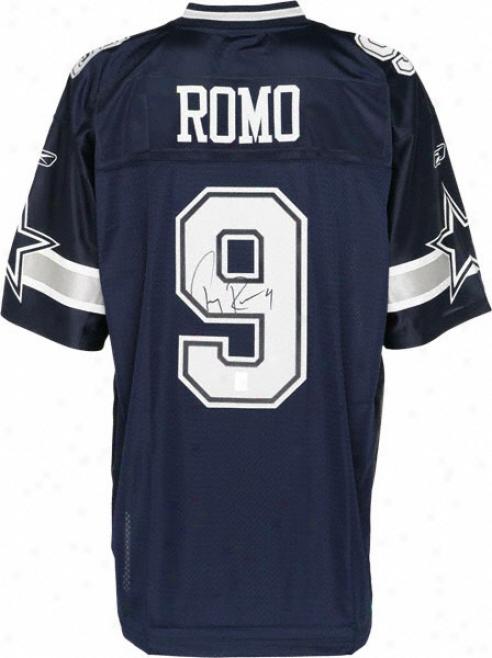 Tony Romo Autographed Jersey  Details: Dallas Cowboys, Reebok Navy Eqt