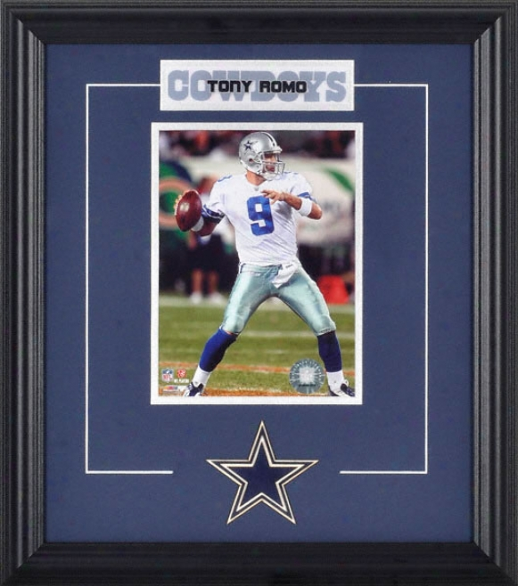 Tony Romo Ftamed 6x8 Photograph With Team Logo & Plate