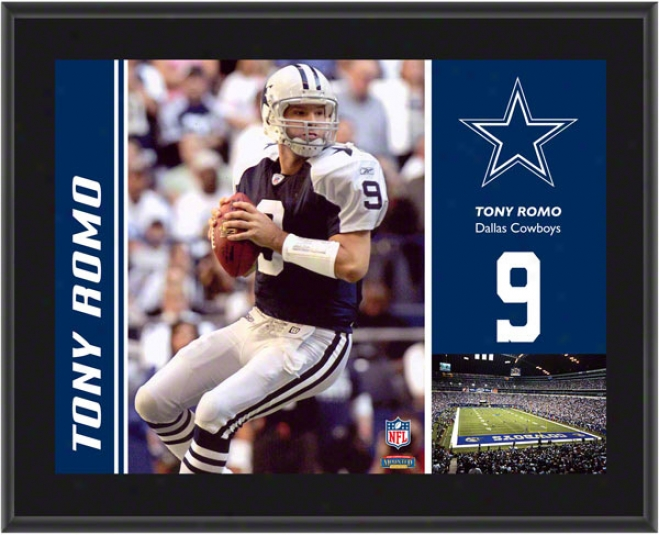 Tony Romo Plaque  Details: Dallas Cowboys, Sublimared, 10x13, Nfl Plaque