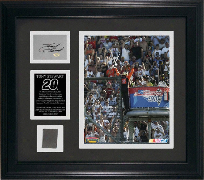 Tony Stewart 2007 Usg Sheetrock 400 Race Winner Framed Autographed Race Used Collectible With 8x10 Photograph And Race-winning Tire Piece