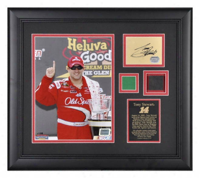 Tony Stewart 2009 Watkins Glen International Framed 8x10 Photograph With Green Flag, Autograph Plate And Race Winning Tire - Le Of 114