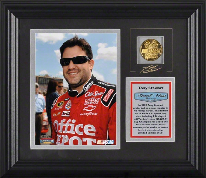 Tony Stewart Framed 6x8 Photograph With Facsimile Signature, Engraved Plate And Gold Coin - Le Of 514