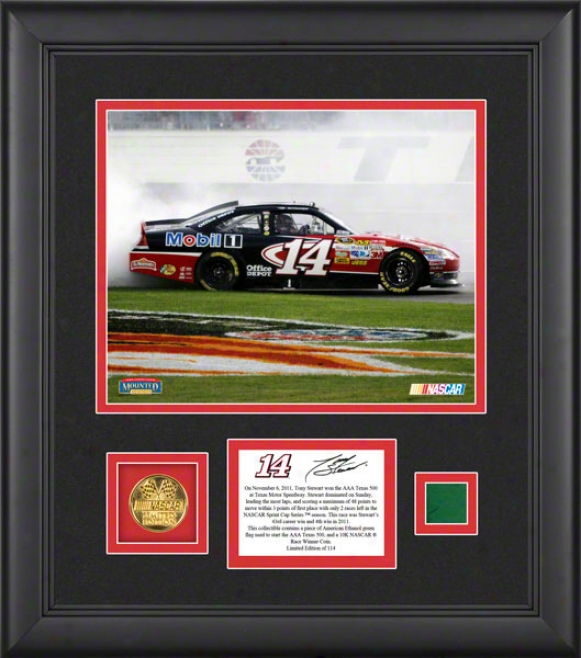 Tony Stewart Framed 8x10 Photograph  Details: 2011 Aaa 500 Victory At Texas Motor Speedway Race Winner, With 10k Gold Coin And Unseasoned Flag - Limited Edition Of 1
