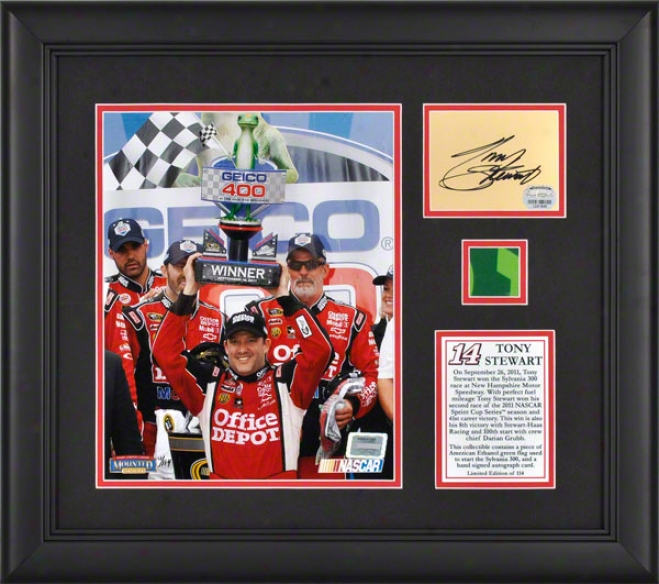 Tony Stewart Framed 8x10 Photograph  Details: 2011 Geico 400 Victory At Chicagoland Speedway, Autograph Card, Green Flag - Limited Edition Of 114