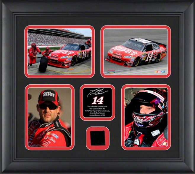 Tony Stewart Framed Photographs  Details: 4 � 4x6 Photographs, 2010 Race Used Be fatigued, Limited Edition Of 500