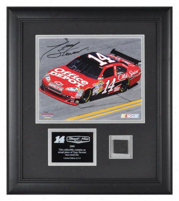 Tony Stewart - Office Depot - 8x10 Photograph With Facsimile Autograph And Race Used Tire.