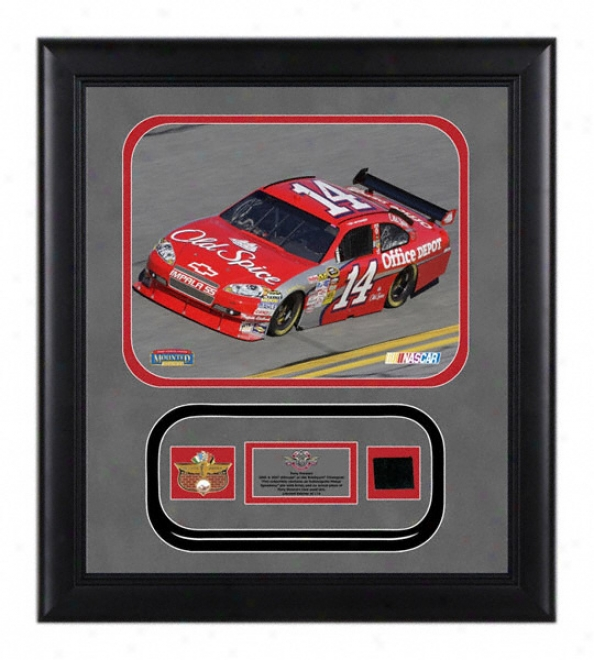 Tony Stewart - Old Spice -ã'âFramed 8x10 Photograph Attending Indianapolis Motor Speedway Pin, Brick And Authentic Race Used Tire - Le Of 2009