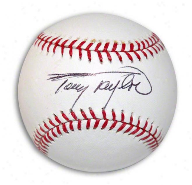 Tony Tayolr Aufographed Baseball