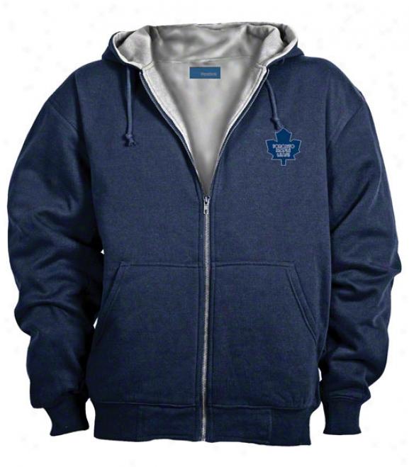 Toronto Maple Leafs Jcket: Blue Reebok Hooded Craftsman Jacket