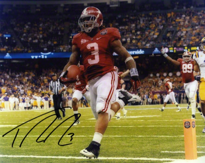Trent Richardson Autographed 8d10 Photograph  Details: Alabama Crimson Tide, Horizontal, 2011 Bcs Title Plan
