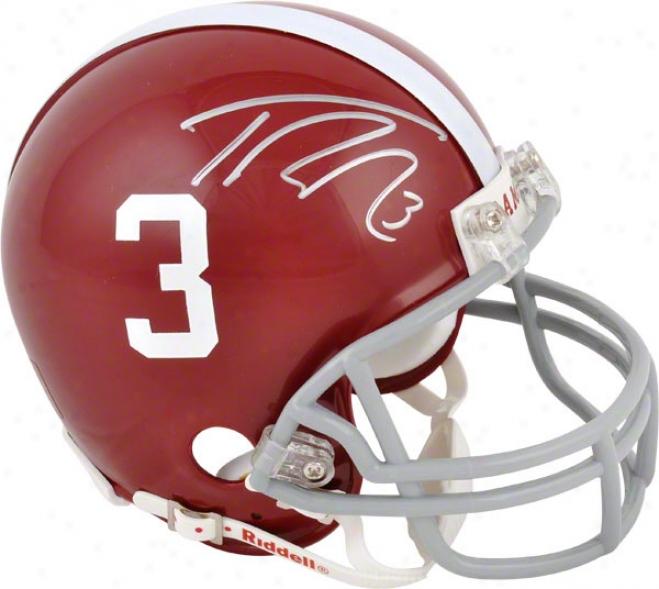 Trent Richardson Autographed Miin Helmet  Details: Alabama Crimson Tife