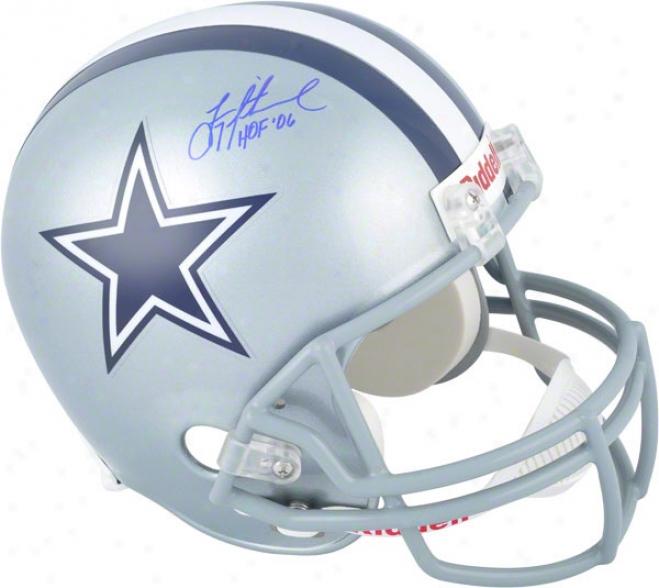 Troy Aikman Autographed Helmet  Dteails: Dallas Cowboys, Riddell Repljca Helmet, Hoof 06 Inscription