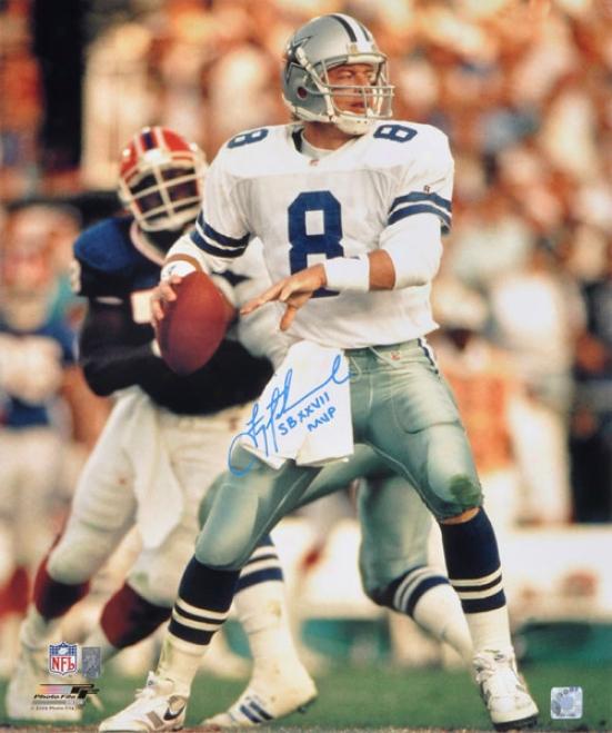 Troy Aikmman Autographed Photograph  Details: Dallas Cowboys, 20x24, Sb Xxvii Mvp Inscription