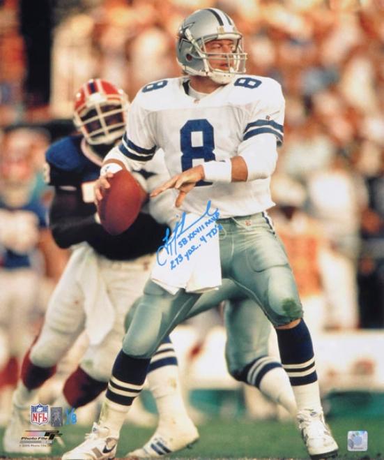 Troy Aikman Autographed Photograph  Details: Dallas Cowboys, 20x24, Sb Xxvii Mvp, 273 Yds, 4 Tds Inscripiton